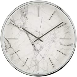 Better Homes & Gardens Marble Pattern Clock, Brushed Nickel Finish