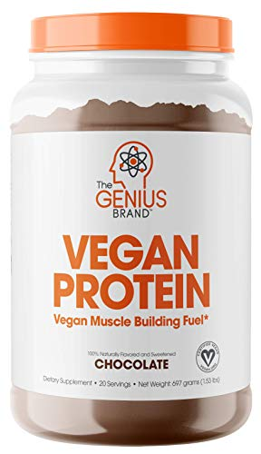 Genius Vegan Protein Powder – Plant Based Lean Muscle Building Shake   Best Pea + Pumpkin Protein Sources – Ideal Lean Body Shake for Men & Women – All in One Nutritional Sport Drink (Dairy Free
