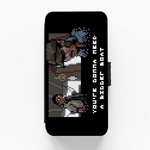 Jaws Bigger Boat Hochwertige PU-Lederimitat Hülle, Schutzhülle Hardcover Flip Case für iPhone 6 / 6s vom 84Nerd Designs + wird mit KOSTENLOSER klarer Displayschutzfolie geliefert