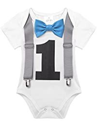 Baby Boys Short Sleeves My 1st Birthday Bodysuit Romper One-Piece Jumpsuit Party Photography Outfits