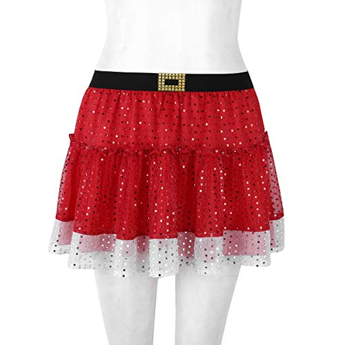 Fille Cadeau Skirt Noël Iixpin De Danseur S Taille Femme xl Plissée Festival Performance Belle Ado Mère Déguisement Paillettes Jupette Fête Rouge Danse Pour Jupe En Satin XNnP80kwO