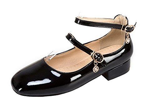 Allhqfashion Damesgesp Lage Hakken Lakleder Stevige Vierkante Gesloten Teen Pumps-schoenen Zwart