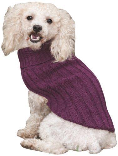 Fashion Pet Outdoor Dog Classic Turtleneck Sweater, Small, Plum (Pet Fashion Plum)
