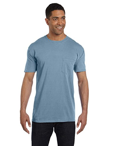 Comfort Colors Pigment-Dyed Short Sleeve Shirt with a Pocket, L, Ice Blue - Dyed Cotton Short Sleeve Tee