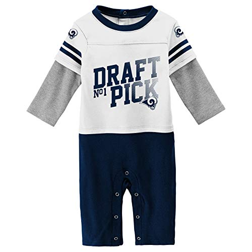 Outerstuff NFL Los Angeles Rams Newborn & Infant Draft Pick Long Sleeve Coverall White, 6-9 Months
