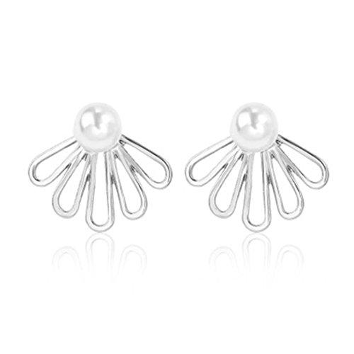 Faux Pearl Button Earrings (Women's Flower Stud Earrings, Clearance! Iuhan Girls Hollow Flower Ear Stud Pearl Rhinestone Crystal Dangle Earrings Style (C))