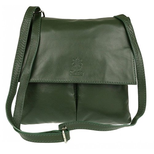 Dark Handbag Italian Body Genuine Green Bag Shoulder Leather Leather Cross Pocket Bag Pelle Vera Double or 6Rp4pxOq
