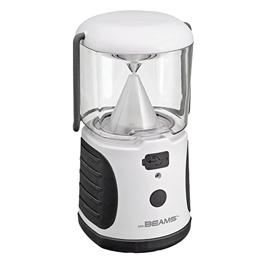 (Mr. Beams MB480 UltraBright LED Camping Lantern with USB Charger for iPhone; Camping, Hiking, Hurricanes, Emergencies, Outages; Water resistant, Lightweight, Super bright, Removable top cover, Hook and handle – White )
