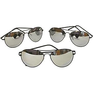 G&G Metal Silver Mirrored Aviator Sunglasses 3 Pr Spring Hinges (3 Black frame)