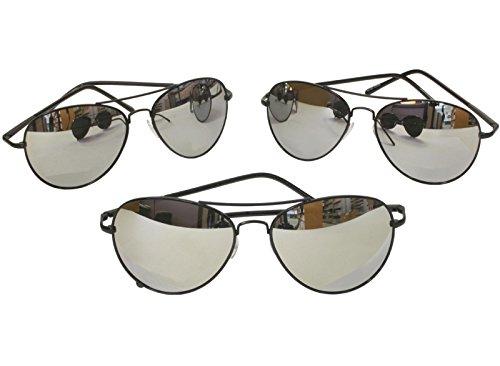 G&G Metal Silver Mirrored Aviator Sunglasses 3 Pr Spring Hinges (3 Black frame) (Glasses Police Frames)