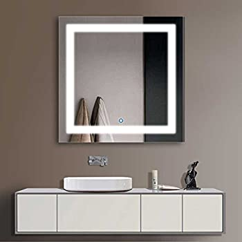 Decoraport 36 Square LED Bathroom Mirror Illuminated Lighted Vanity Wall Mounted With Touch Button