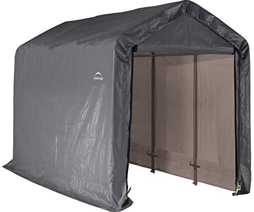 ShelterLogic 6' x 12' Shed-in-a-Box All Season Steel Metal Peak Roof Outdoor Storage Shed with Waterproof Cover and Heavy Duty Reusable Auger Anchors
