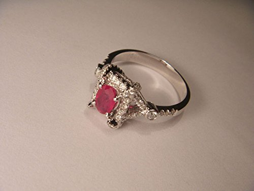 Gorgeous 14K White Gold Ruby Micro Pave Diamond Designer (Gold Ruby Pave Diamond)