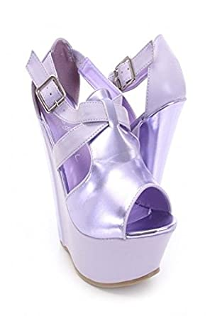 86d9440ea47dd7 Silver Rhinestone Beaded Strappy Faux Leather Metallic Sandals Women High  Heels (7.5 Lilac)