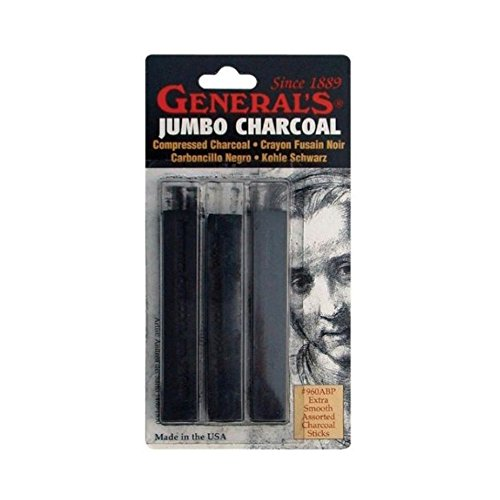 Charcoal Generals (General Pencil Jumbo Compressed Charcoal Sticks, Black, 3-Pack)