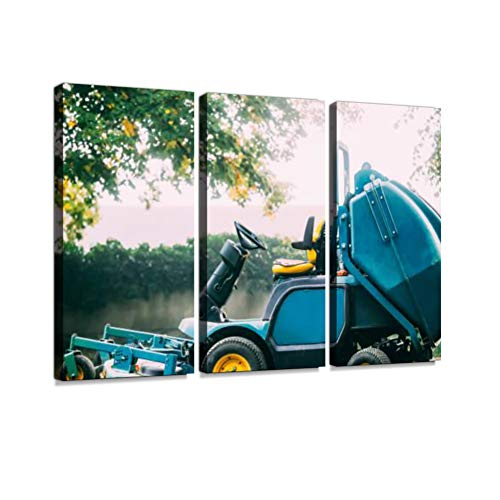 Lawn Mower Tractor On Green Grass. Garden Special Technique Print On Canvas Wall Artwork Modern Photography Home Decor Unique Pattern Stretched and Framed 3 Piece - Modern Tractor Green