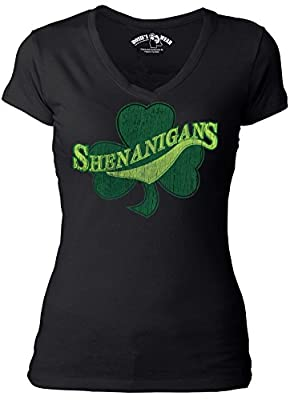 Irish Shenanigans Shamrock Women's Black V-neck T-shirt / St. Patrick's Day with FREE Party Beads