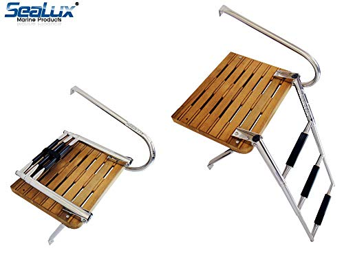 (SeaLux Marine Outboard Teak Swim Platform with Over TOP Mount 3-Step)