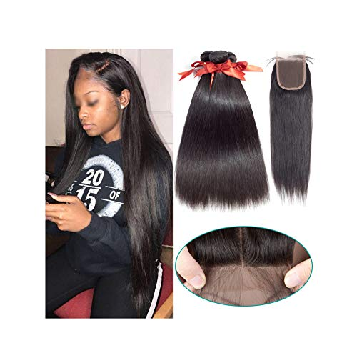 Brazilian Straight Hair Bundles With Closure 2/3 Bundles 100% Human Hair Weave Bundles With Closure Brazilian Hair Extensions,20 22+18Closure,Natural Color,Three Part -