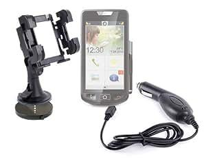 """Soporte de coche 3 en 1 para teléfono móvil y smartphone Emporia Smart) (pantalla de 4,5 """"para rejilla de ventilación, parabrisas y salpicadero &-Cargador para encendedor de coche, incluye cargador para el coche"""