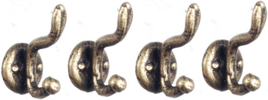Melody Jane Dollhouse Antique Brass Coat Hooks Miniature Hall Cloakroom Accessory 1:12