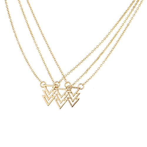 [Lux Accessories Goldtone Triangle Necklace Set] (Good Costume Ideas For Two Friends)