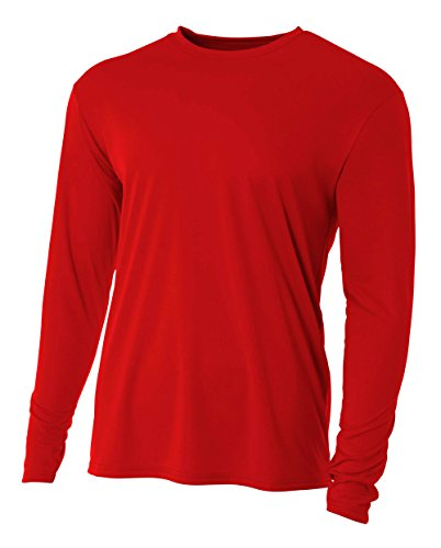 A4 Men's Cooling Performance Crew Long Sleeve T-Shirt, Scarlet, X-Large