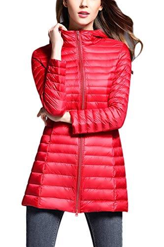 Taglie Rosso Eleganti Lunga Giacca Piumino Fit Donna Ragazza Tempo Fashion Zip Outerwear Trapuntato Cappotto Caldo Manica Forti Libero Outdoor Leggero Trapuntata Slim Autunno Invernali qAYSpw