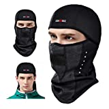 KINGBIKE Balaclava Ski Face Mask Windproof Men Women Warm Hood Winter Masks Thermal Fleece Fabric with Breathable Vents for Cold Cycling Skiing Motorcycle Snowboard Tactical Hunting(Black)