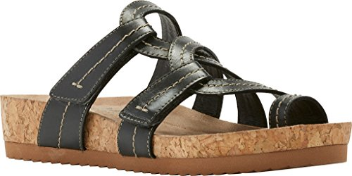 Walking Cradles Womens Panama Flat Sandal Zwart Soft Antanado