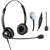 Telephone Headset Dual Ear RJ9 Headset with Noise Cancelling Microphone for Cisco Yealink Snom Fanvil Grandstream Htek Huawei Dlink Akuvox Escene