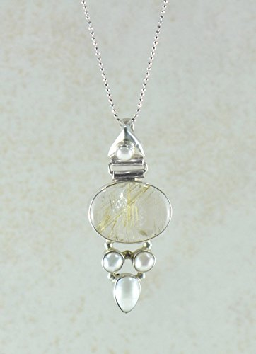 Rutile Quartz Pendant - SIVALYA Golden Rutile Quartz and Pearls Pendant Necklace in 925 Sterling Silver, Gift for Her