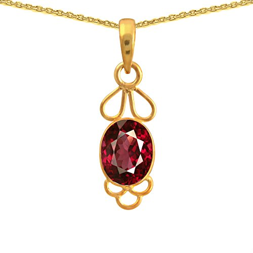 Orchid Jewelry July Birthstone Gold Overlay 925 Sterling Silver Bezel Set Ruby Gemstone Pendant for Girls, Womens and Gifts ()