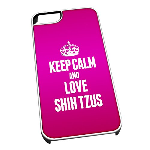 Bianco cover per iPhone 5/5S 2069Pink Keep Calm and Love Shih Tzus