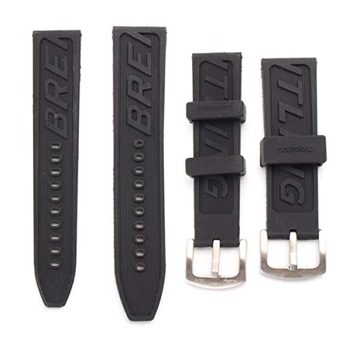 WD Jewelry 22/24mm Replacement Rubber Strap for Breitling Super Avanger - (Size: 22mm)
