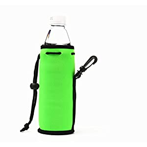 ECO Store 500ML (16.9OZ) Collapsible Neoprene Water Bottle Drawstring Cooler Insulator Holder with Clip - 3 Pack (Yellow & Orange & Lime Green)