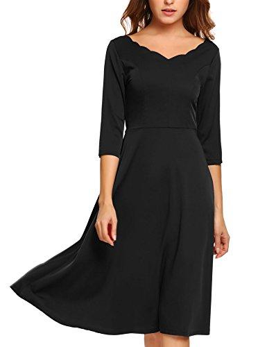 HOTOUCH Women 3/4 Sleeve Double V Neck Cocktail Midi Dress (Black L)