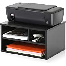 FITUEYES Wood Printer Stands with Storage,Workspace Desk Organizers for Home & Office,Black,DO304001WB