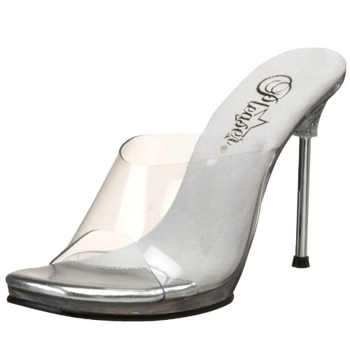 Fabulicious Womens 4 1/2 Inch Stiletto Heel Mini-Platform Slide Clear / Clear himcz0
