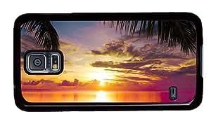 Hipster make Samsung Galaxy S5 Cases beach sunset scene PC Black for Samsung S5