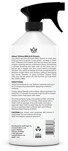 TriNova Grill Cleaner Spray for BBQ - Cleaning solution for grate on gas, wood, oil, stone, brick, or propane. Professional Strength and safe 18oz