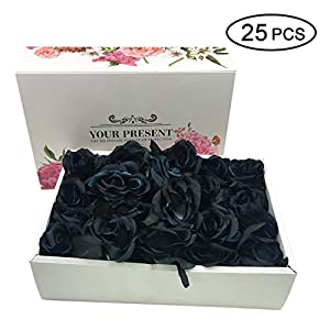 Topgalaxy.Z Artificial Flowers Black Roses, 25pcs Fake Roses w/Stem DIY Wedding Bouquets Centerpieces Arrangements Party Home Halloween Decorations, Halloween Decor Flower Party 51