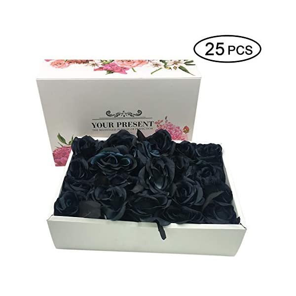Topgalaxy.Z Artificial Flowers Black Roses, 25pcs Fake Roses w/Stem DIY Wedding Bouquets Centerpieces Arrangements Party Home Halloween Decorations, Halloween Decor Flower Party