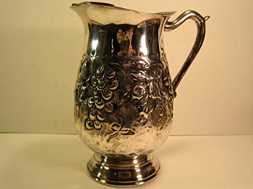 Water Pitcher with Ice Guard, Silver-Plated, Hand-Hammered Grape and Leaves Motif, 9 Inches