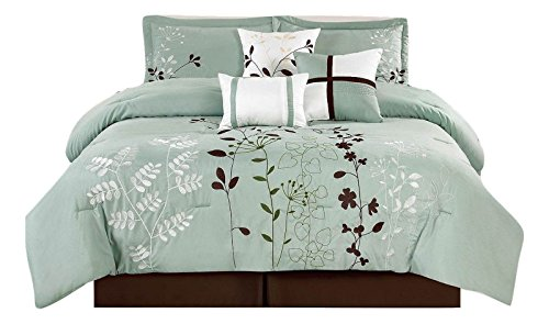 Legacy Decor 7 Pcs Floral Embroidered Microfiber Comforter Set Blue Teal - Sage & Brown Queen Size
