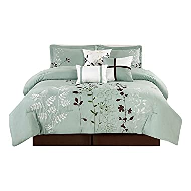 Legacy Decor 7 Pcs Floral Embroidered Microfiber Comforter Set Blue Teal, Sage & Brown Full Size
