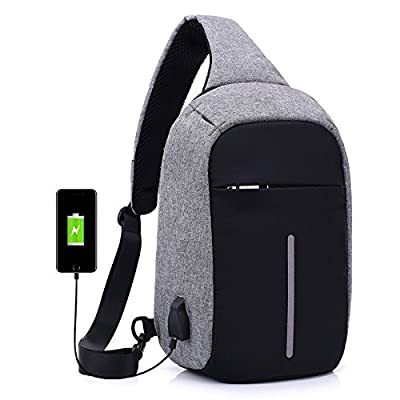 4e2b4f86272d Dovayee Anti Theft Sling Bag Shoulder Crossbody Chest Bag for Men Women  Outdoor Lightweight Hiking Travel Backpack Daypack with USB Charging Port