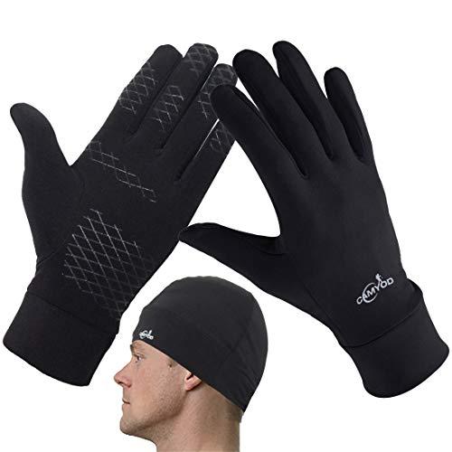 CAMYOD Unisex Silicon Compression Lightweight Running Gloves, Skull Cap Beanie, Men Women Glove Helmet Liner hat Set(M)