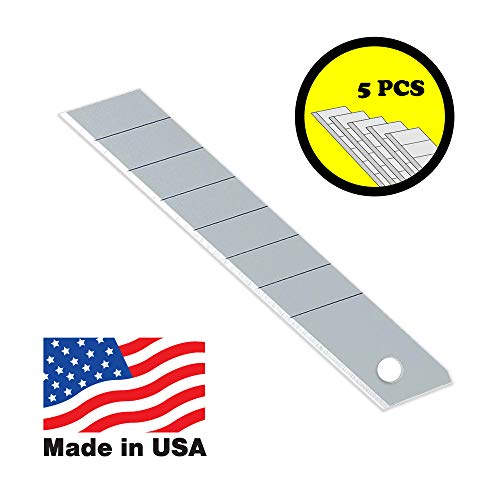 Snap-off Blades: Heavy Duty Ultra Sharp Stainless-Steel 8 Points Utility Knife Blades, 5 Piece ()