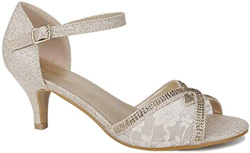 Maxmuxun Women Evening Party Wedding Shoes Ankle Strap Buckle Gold
